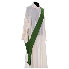 Dalmática bordado cruz flor parte anterior posterior tejido Vatican 100% poliéster s7