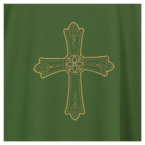 Dalmática bordado cruz flor parte anterior posterior tejido Vatican 100% poliéster 2