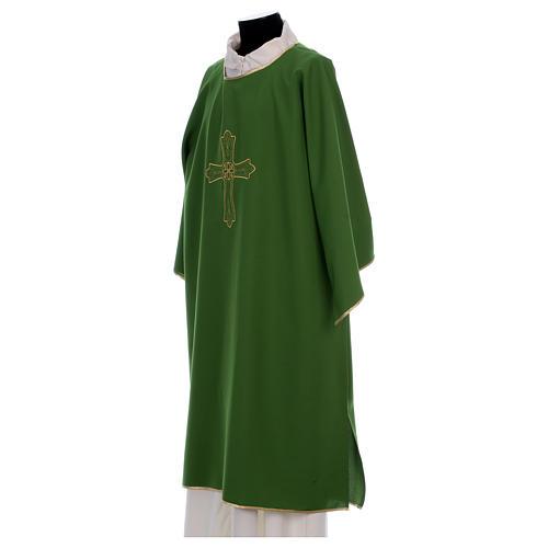 Dalmática bordado cruz flor parte anterior posterior tejido Vatican 100% poliéster 3