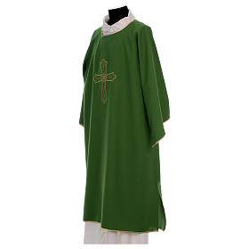 Dalmatica ricamo croce fiore davanti dietro tessuto Vatican 100% poliestere s3