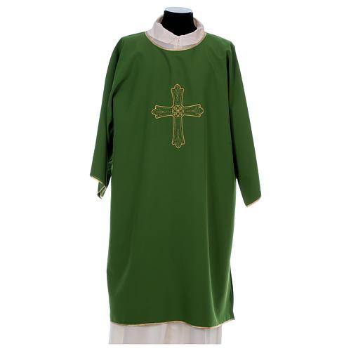 Dalmatica ricamo croce fiore davanti dietro tessuto Vatican 100% poliestere 1