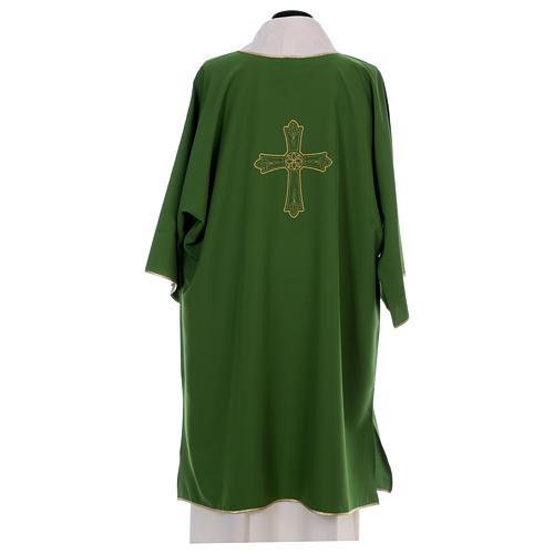 Dalmatica ricamo croce fiore davanti dietro tessuto Vatican 100% poliestere 4
