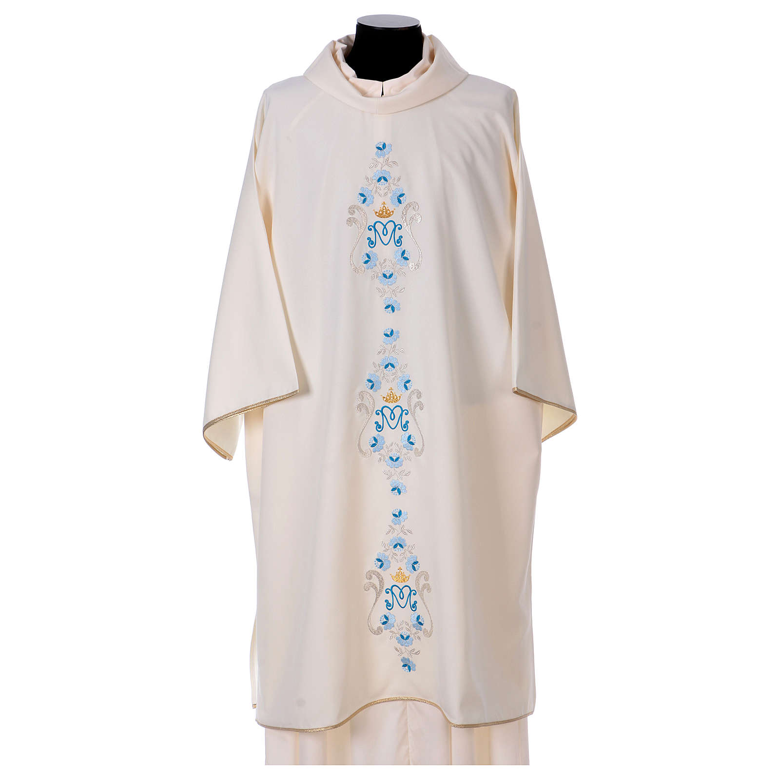 Marian Dalmatic with daisies embroidery on front and back made in Vatican fabric 100% polyester 4