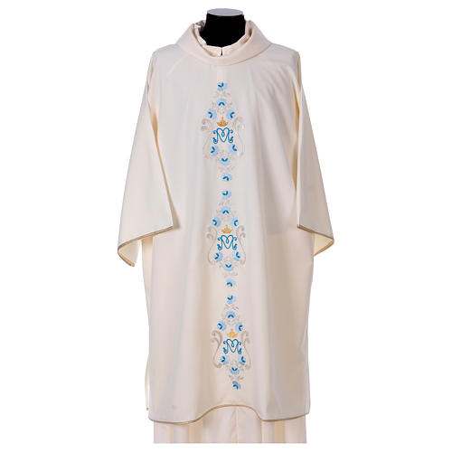 Marian Dalmatic with daisies embroidery on front and back made in Vatican fabric 100% polyester 1