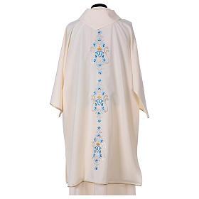 Dalmatique mariale marguerites avant arrière tissu Vatican 100% polyester s4