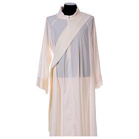 Dalmatique mariale marguerites avant arrière tissu Vatican 100% polyester s5