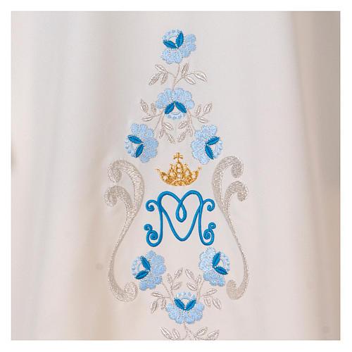 Dalmatique mariale marguerites avant arrière tissu Vatican 100% polyester 2