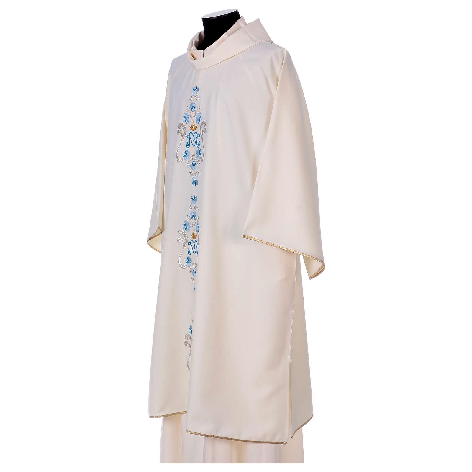Dalmática mariana margaridas ambos lados Vatican 100% poliéster 4
