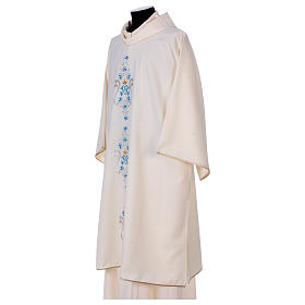 Dalmática mariana margaridas ambos lados Vatican 100% poliéster s3