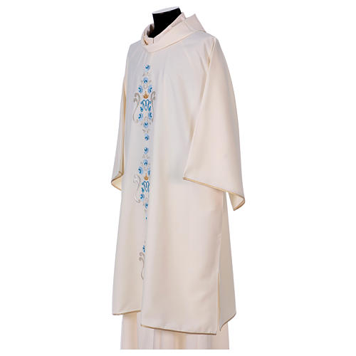 Marian Deacon Dalmatic with daisies embroidery on front and back made in Vatican fabric 100% polyester 3