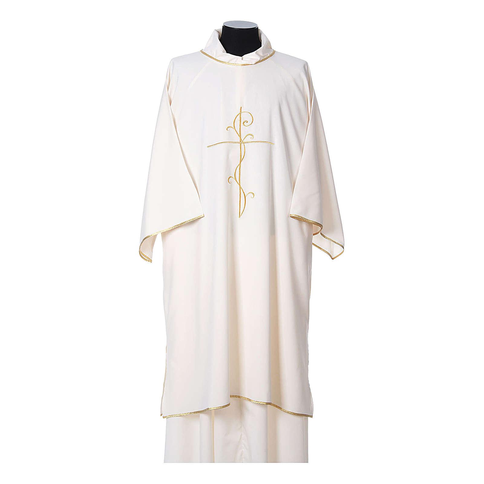 Dalmatik aus ultraleichtem Stoff, Modell Vatican, mit Stickerei Kreuz auf der Vorder- und Rückseite 4