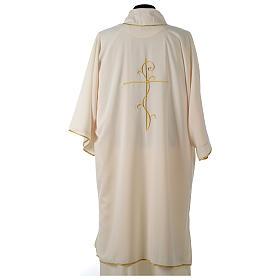 Dalmatik aus ultraleichtem Stoff, Modell Vatican, mit Stickerei Kreuz auf der Vorder- und Rückseite s14