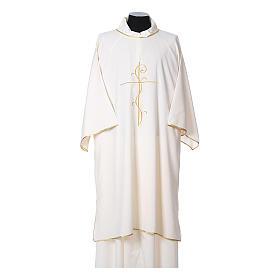 Dalmatik aus ultraleichtem Stoff, Modell Vatican, mit Stickerei Kreuz auf der Vorder- und Rückseite s5