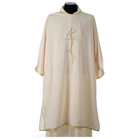 Ultralight Dalmatic with Peace and lilies embroidery on front and back, Vatican fabric 100% polyester s13