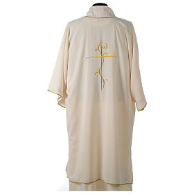 Ultralight Dalmatic with Peace and lilies embroidery on front and back, Vatican fabric 100% polyester s14