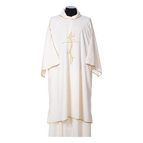Ultralight Dalmatic with Peace and lilies embroidery on front and back, Vatican fabric 100% polyester s5