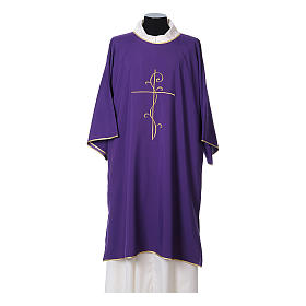 Ultralight Dalmatic with Peace and lilies embroidery on front and back, Vatican fabric 100% polyester s6