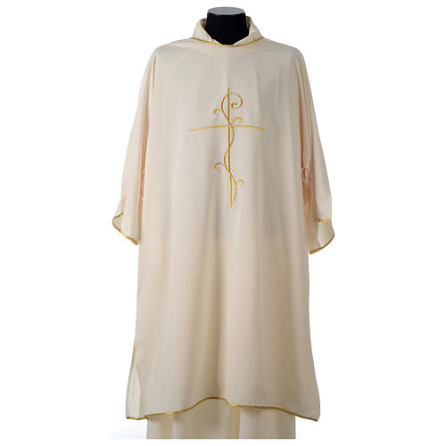 Ultralight Dalmatic with Peace and lilies embroidery on front and back, Vatican fabric 100% polyester 13