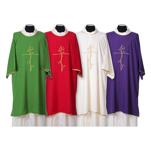 Ultralight Dalmatic with Peace and lilies embroidery on front and back, Vatican fabric 100% polyester 1