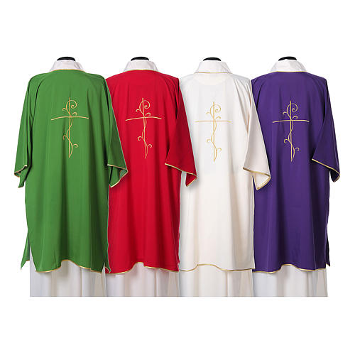 Ultralight Dalmatic with Peace and lilies embroidery on front and back, Vatican fabric 100% polyester 2
