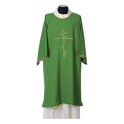 Ultralight Dalmatic with Peace and lilies embroidery on front and back, Vatican fabric 100% polyester 3