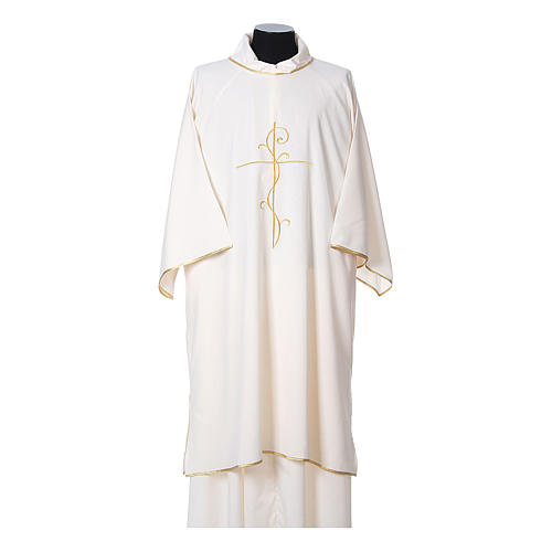Ultralight Dalmatic with Peace and lilies embroidery on front and back, Vatican fabric 100% polyester 5
