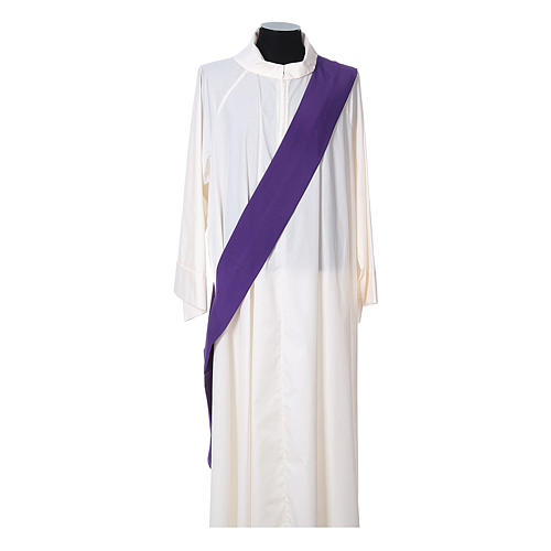Ultralight Dalmatic with Peace and lilies embroidery on front and back, Vatican fabric 100% polyester 11