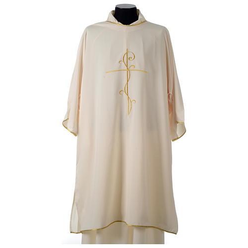 Dalmática Tejido Vatican Bordado Cruz Decoración delante y detrás 13
