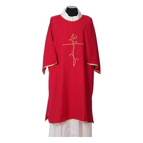Dalmática Tejido Vatican Bordado Cruz Decoración delante y detrás 4