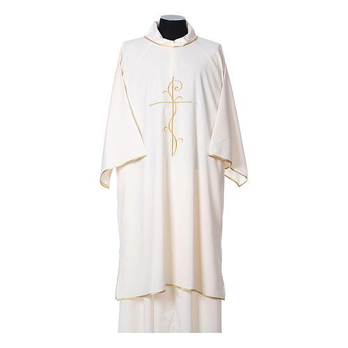 Dalmatica tessuto ultraleggero Vatican ricamo croce decoro fronte retro 5