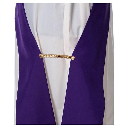 Dalmática tecido ultra leve Vatican bordado Pax Lírios ambos lados 12