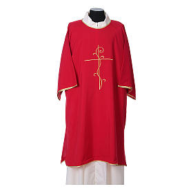 Ultralight Deacon Dalmatic with Peace and lilies embroidery on front and back, Vatican fabric 100% polyester s4