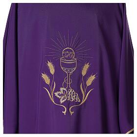 Dalmática tejido Vatican ultra liviana bordado cáliz uva espigas parte anterior posterior  s2