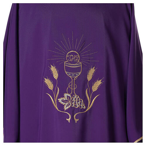 Dalmática tejido Vatican ultra liviana bordado cáliz uva espigas parte anterior posterior  2