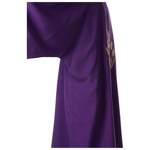 Dalmática tejido Vatican ultra liviana bordado cáliz uva espigas parte anterior posterior  3