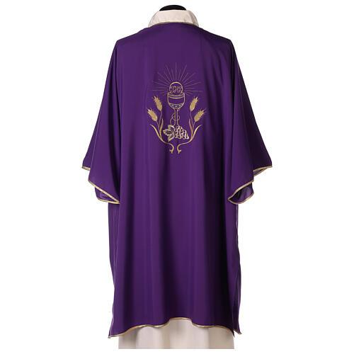 Dalmática tejido Vatican ultra liviana bordado cáliz uva espigas parte anterior posterior  4