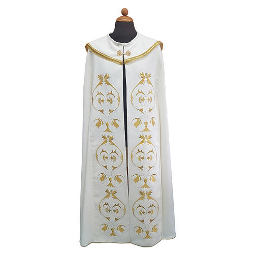 Cope cape with rich embroidery in Vatican fabric 1