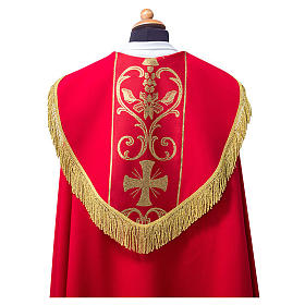 Cope cape with stole trim application in Vatican fabric, 100% polyester s2