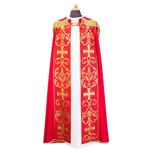 Cope cape with stole trim application in Vatican fabric, 100% polyester 1