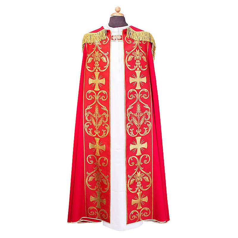 Cope cape with stole trim application in Vatican fabric, 100% polyester 4