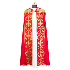 Cope cape with stole trim application in Vatican fabric, 100% polyester s1