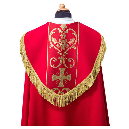 Cope cape with stole trim application in Vatican fabric, 100% polyester 2