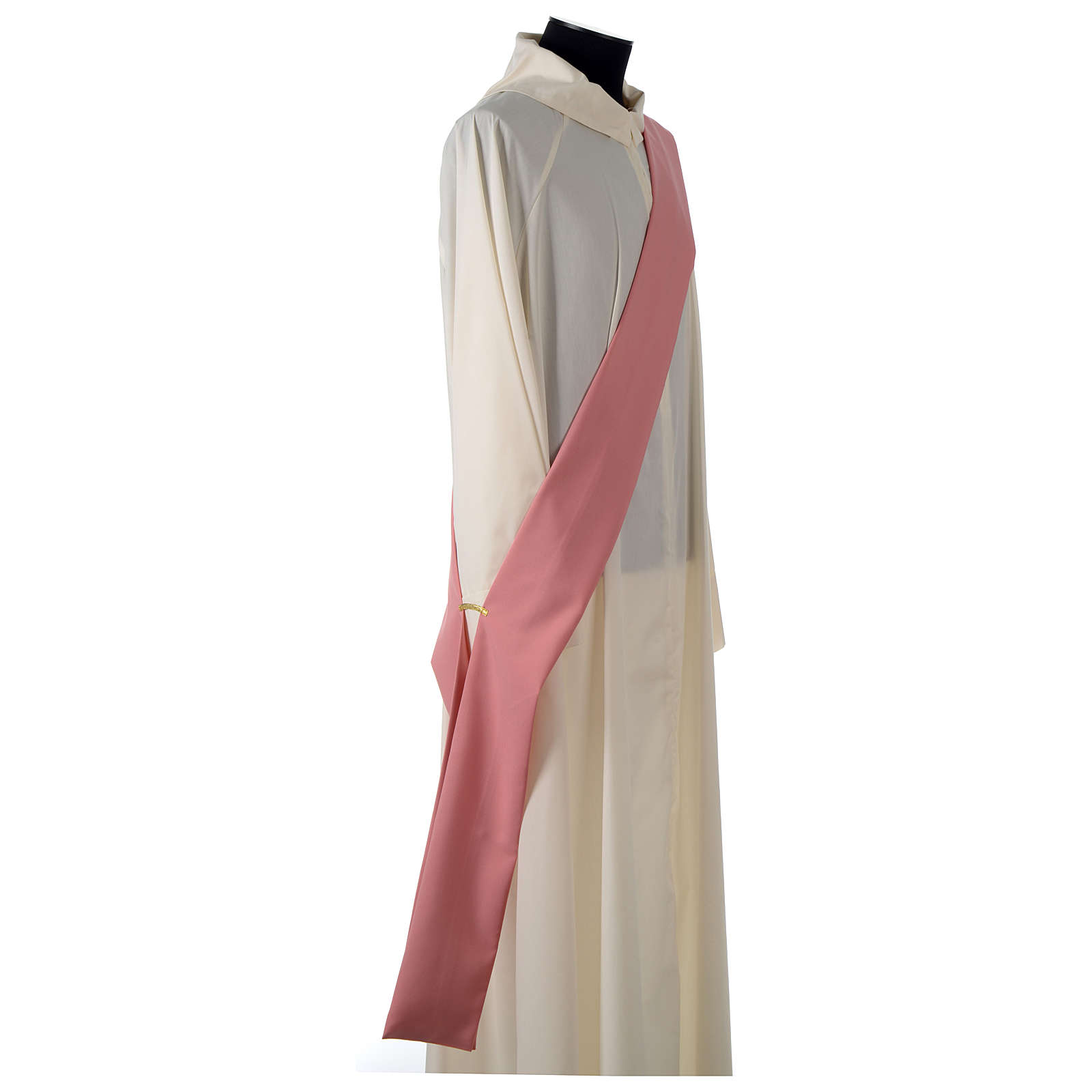 Dalmática rosa entorchado aplicado parte anterior tejido Vatican poliéster 4