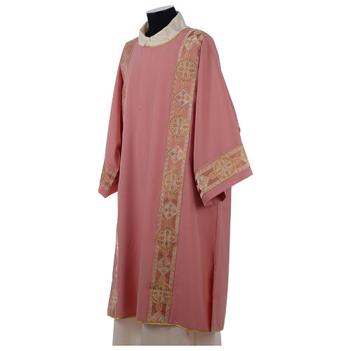 Dalmática rosa entorchado aplicado parte anterior tejido Vatican poliéster 3