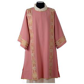 Dalmatique rose bande centrale appliquée avant tissu Vatican polyester s1