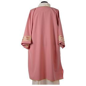 Dalmatique rose bande centrale appliquée avant tissu Vatican polyester s4