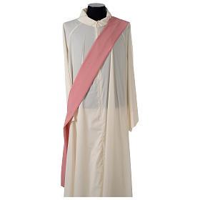 Dalmatique rose bande centrale appliquée avant tissu Vatican polyester s6