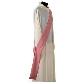 Dalmatique rose bande centrale appliquée avant tissu Vatican polyester s7