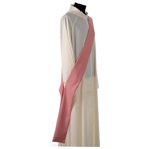 Dalmatique rose bande centrale appliquée avant tissu Vatican polyester 7