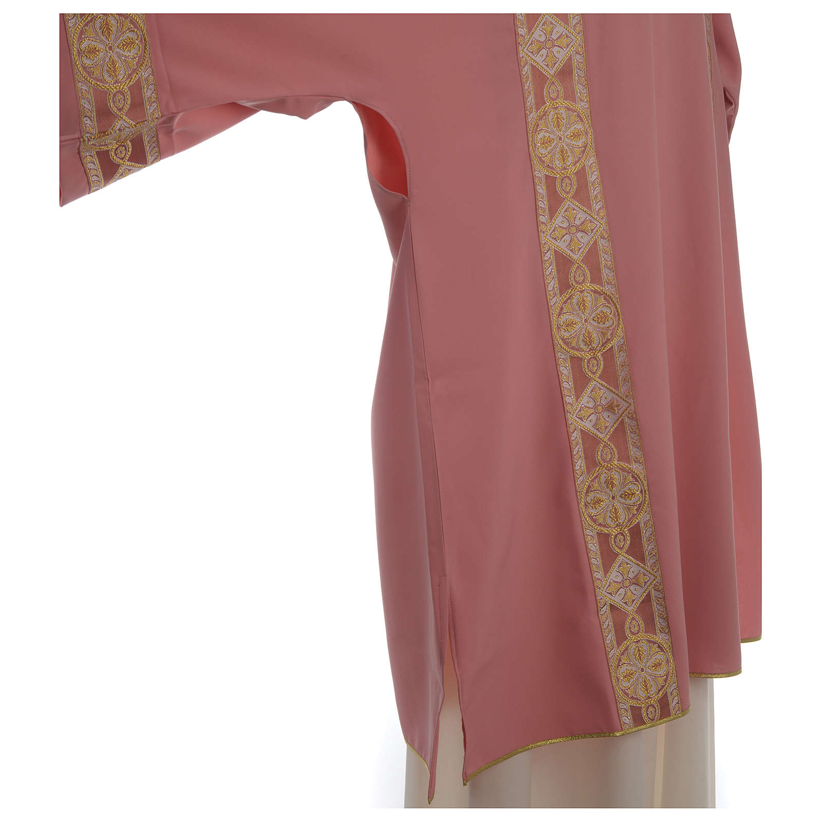 Rose Religious Dalmatic with front galloon in Vatican fabric 4
